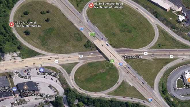 Repairs to the Interstate 83 bridge over Route 30 will close two ramps and a right lane on the highway on Saturday, according to the state Department of Transportation.