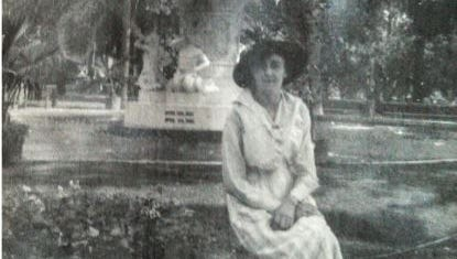 Harry Scott submitted this photo of his great-grandmother, Mabel Elizabeth Scott Lane, posing in front of Soldiers Fountain in Poughkeepsie circa 1919.