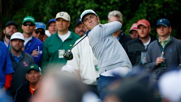 Apr 6, 2017; Augusta, GA, USA; Jon Rahm hits his tee