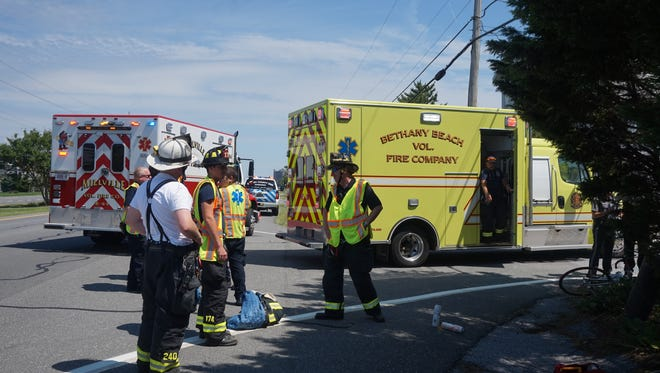 Scene of a June 30 bicycle accident on Coastal Highway in Bethany Beach