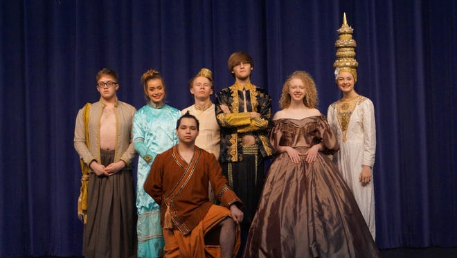 The Mountain Home High School Theatre Department will present the King and I April Friday through Sunday at Dunbar Auditorium. Pictured are cast members (from left) P.J. Talemal, Alexa Darracq, Brandon Ruiz, Evan Matlocle, Andrew Egan, Amelia Blairand Savannah Conly.