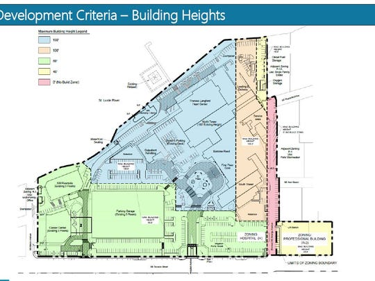 This image shows the height limits the hospital wants in a proposed expansion of its Stuart campus.