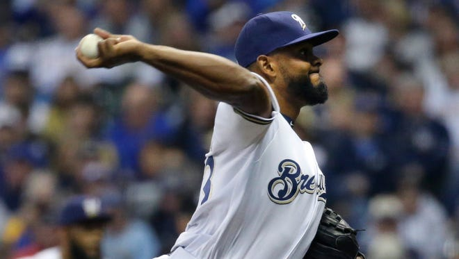 Brewers reliever Jhan Marinez, who has struggled with walks this season, was designated for assignment Monday.