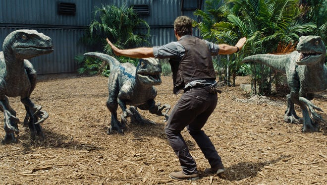 "Chris Pratt and his raptor co-stars are on a box office rampage. Owen (CHRIS PRATT) attempts to keep the raptors at bay in a scene from the motion picture ""Jurassic World."""