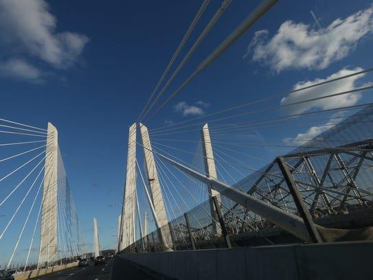 The cables on the Gov. Mario Cuomo Bridge shine against