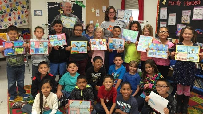 "Second graders created handmade artwork for museum employees to say ""thank you."""
