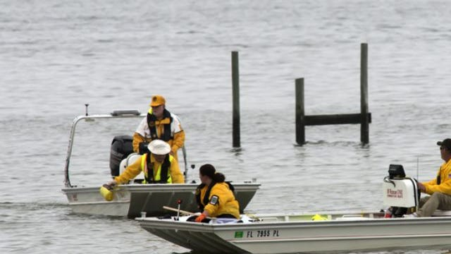 Escambia Search And Rescue (ESAR) boat crews searching for a missing swimmer.
