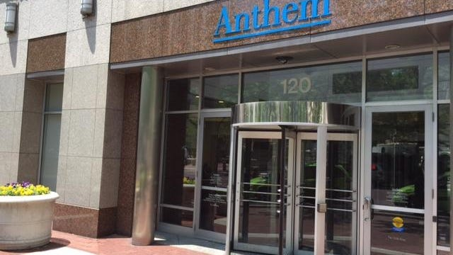 Headquarters of health insurer Anthem Inc. on Monument Circle in Downtown Indianapolis.