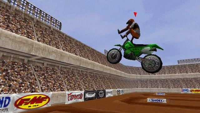 """This screen shot of """"Motocross Madness"""" from Archive.org shows the nostalgic glory of late-1990s 3-D racing, flat crowds and pointed tires."""