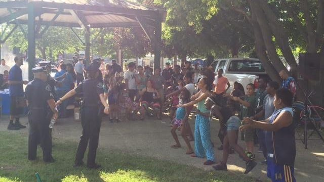 Police and children having fun at previous party