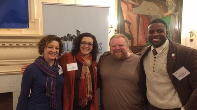 The local delegation to the NYS PEN conference in Albany last weekend included (l to r) Liz Hallmark, Rochester City School District Commissioner; Molly Clifford, Rochester City Council Member; Jesse Lenney, local leader of the Working Families Party and Ezra Scott, Jr., Niagara Falls City Council Member.