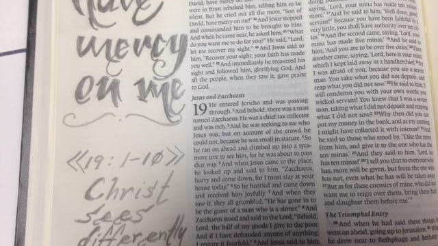 Adam Carlucci uses drawings in his Bible journal to remind him the true meaning of a verse.