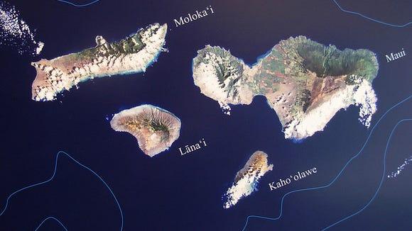 aeriel view of Lanai, Maui, Molokai, Hawaii