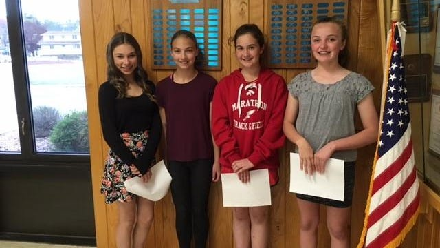 The American Legion Auxiliary Unit 469, Marathon, announced the winners of their 2016 essay contest. As pictured, the winners are Anna Hughes, from left, Vanesa Krueger, Laila Smith, and Anika Parks. The winners received monetary prizes, and read their essays at the May 12th ALA meeting.