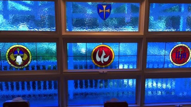 The stained-glassed windows were added to the main church May 21 in memory of the late Rebecca Mekeel Harding, former pastor at Luray Church of The Brethren in Virginia and the daughter of Rev. Dale Mekeel, St. Andrew's priest-in-charge.