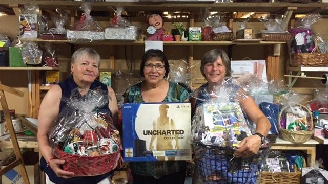 Church of the Messiah in Chester will host its 10th annual Tricky Tray on Sept. 10 beginning at 5:30 p.m.. Showing some of the 200 prizes are chairpersons Linda Ochs, Mary Ellen Taylor and Chris Martin.