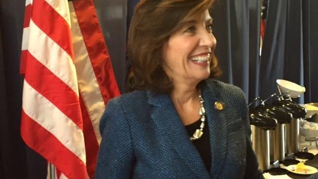 Lt. Gov. Kathy Hochul meets with reporters following a press conference at SUNY New Paltz earlier this year where officials announced plans to bring broadband internet to the entire state.