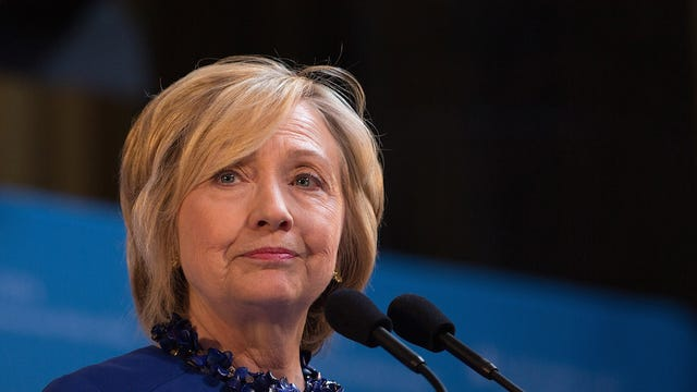 NEW YORK, NY - APRIL 29:  Democratic presidential hopeful and former Secretary of State Hillary Clinton speaks during the David N. Dinkins Leadership and Public Policy Forum at Columbia University April 29, 2015 in New York City. Clinton addressed the unrest in Baltimore, called for police body cameras and a reform to sentencing.   (Photo by Kevin Hagen/Getty Images)
