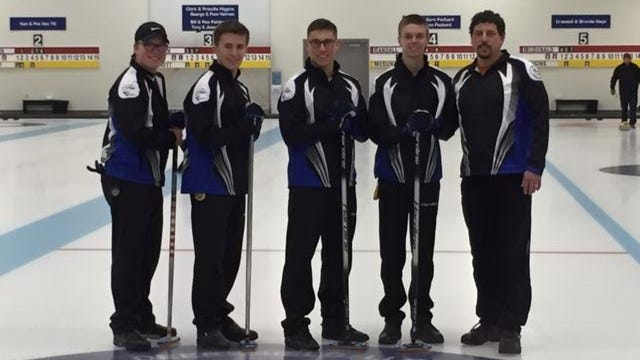 Team Randall, a junior curling team that included Kimberly High School senior Mitchell Armstrong, competed in the USA U18 Men's National Championship earlier this month. Team members, from left, are Dalton Brauner, Joey Kropidlowski, Armstrong, Ben Randall and coach Scott Armstrong.