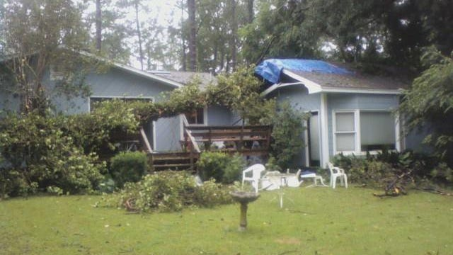Tropical Storm Fay left this little 75-foot reminder on top of columnist Mark Hinson's house when it rolled through Tallahassee in 2008.