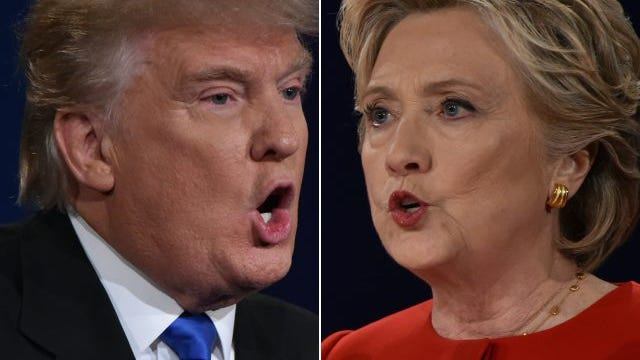 Republican nominee Donald Trump and Democratic nominee Hillary Clinton face off during the first presidential debate at Hofstra University in Hempstead, New York on September 26, 2016.