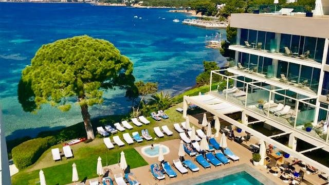 ME Ibiza resort's pool is right on the Mediterranean and another is on the roof.
