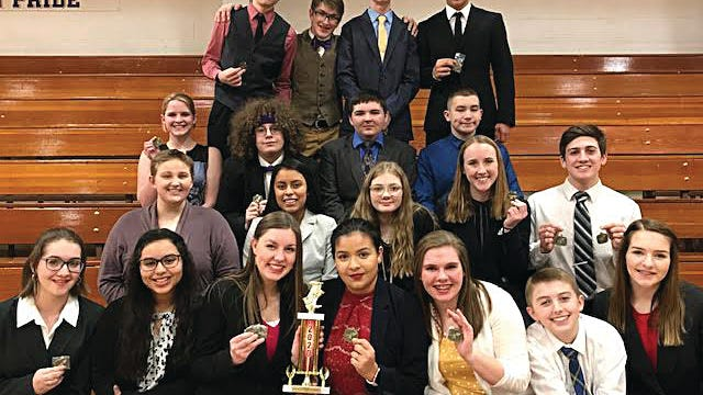 Pratt High School forenscis team members pictured at Medicine Lodge include (back row, from left) Rafe Donnenwerth, Walker Green, Darrian Cox, Colby Barradas; top middle row - Bella Barker, Aiden Falkinburg, Nick Vail, Brett Boor; front middle row - Abby Zang, Graciela Garcia, Lexi Voepel, Ruby Howell, Hogan Thompson; front row - Abby Green, Kierra Messick, Kahrie Stegman, Amee Hidalgo, Kylee Hopkins, Colby Gordon, Alyssa Green.