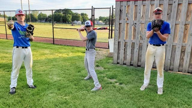 From left, Nick Chasey, Bryce Bruggeman and Easton Johnson are looking to lead Gilbert to another Heart of Iowa Conference baseball title and a deep postseason run in 2020. Photo by Joe Randleman/Ames Tribune