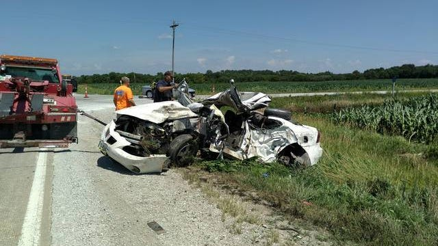 A woman from Story City was killed in a car collision Wednesday morning on a local road about five miles north of Ogden. Photo courtesy of Boone County Sheriff's Office