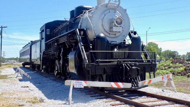To honor the town's rich railroad legacy, the Boone Rotary Club raised funds to install a historic train at the intersection of Highway 30 and Story Street. A formal dedication ceremony will take place in the fall. Photo by Sara Jordan-Heintz