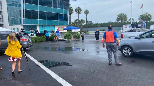 Puddles from an incredibly rainy weekend remained Monday morning at the Gainesville Raceway, where high school graduation ceremonies were set to begin.