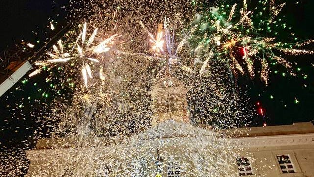 Fireworks and confetti rain down upon the downtown Columbia square as the city rings in the new year for Tuesday's Mule Drop 2020. The event also benefited Center of Hope.