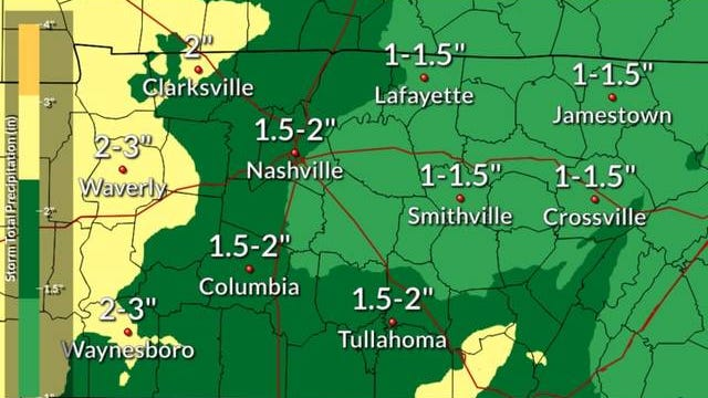 The National Weather Service Nashville predicts Columbia will receive between 1.5-2 inches of rainfall through Saturday as a system of severe thunderstorms moves throughout the Southeast this weekend.