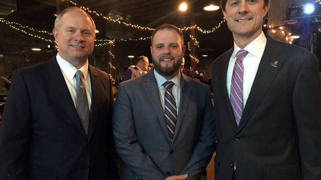 From left, First Farmers President Brian Williams, Maury Chamber and Economic Alliance President Wil Evans and Columbia Mayor Chaz Molder attend Thursday night's meeting at Puckett's restaurant in Columbia.