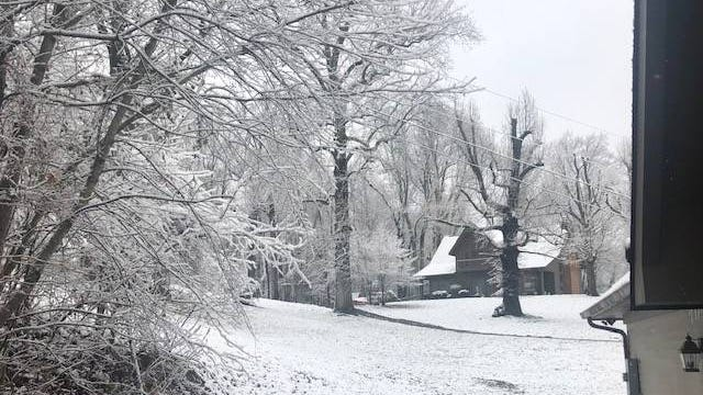 Snow paints a picturesque scene at Arbor Knoll Lane off Pulaski Highway, just south of Columbia.