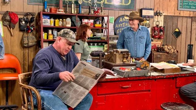 """Wynn Varble, right, rehearses a scene for """"Wynn's Feed & Seed…and Anything Else You Need"""" television show in Columbia. The new comedy sitcom, taking place in the 'fictional' town of Muletown, is set to premiere in April on RFD-TV."""