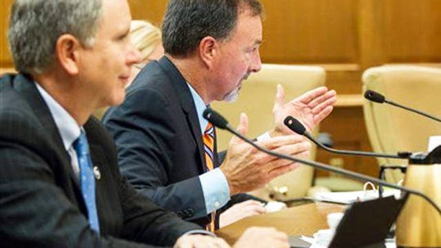 State Sen. Mike Bell, R-Riceville, center, speaks during a Senate Judiciary Committee hearing in Nashville on Oct. 19, 2015.