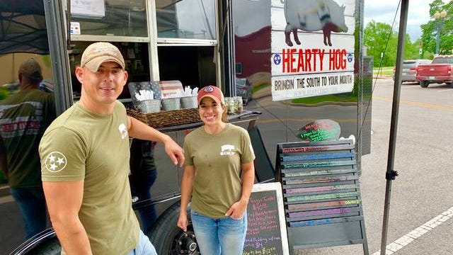 Frank and Amber Magana of Hearty Hog set up shop at Faded Farmhouse on East 6th Street for First Fridays in Columbia on May 3, 2019. The Spring Hill food truck received the first ever Best Food Truck award in the 2019 Best of Maury County readers' poll