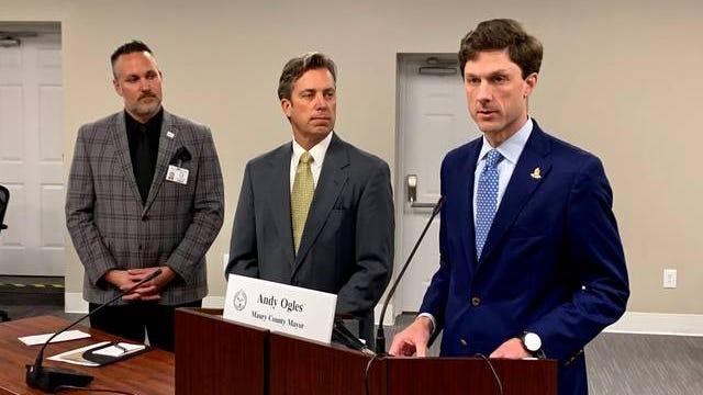 Columbia Mayor Chaz Molder, right, just joined by Maury County Mayor Andy Ogles and Maury County Public Schools Superintendent Chris Marczak in announcing the cancelation of this year's Mule Day, as well as the closure of Maury County Public Schools and several city and county departments as of Monday, March 16, 2020.