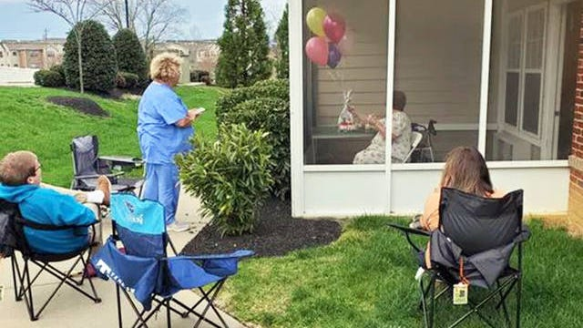 Mary Kay Woods celebrates the 89th birthday of her mother, Jean Hamilton, a resident of the Carrick Glen nursing home in Mt. Juliet.