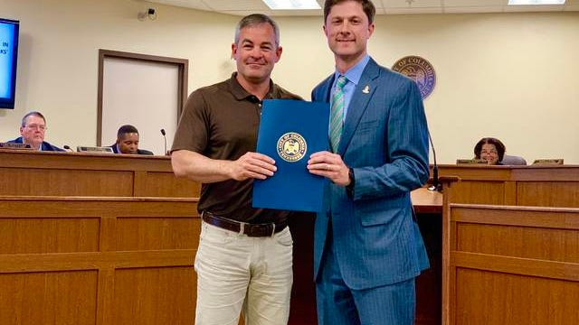 Columbia City Council will recognize the city's Public Works Department this Thursday for National Public Works Week, which will be May 19-25. Pictured is Columbia Chaz Molder, right, presenting a proclamation to Public Works Director Jeff DeWire last year in honor of 2019's Public Works Week.