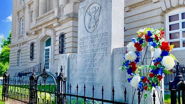 A wreath hangs in memory of fallen Maury County veterans in honor of Memorial Day on Monday.