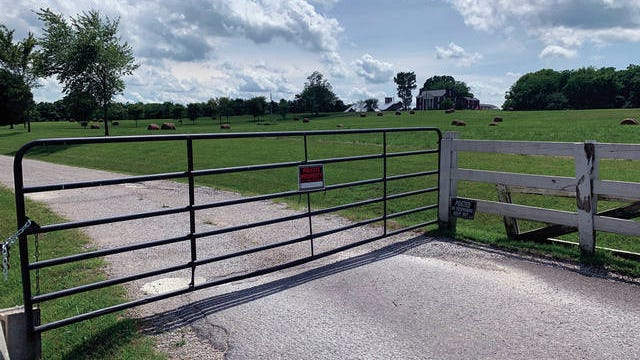 The gate at Elm Springs was locked to visitors after acts of vandalism of Confederate shines across the country. Elm Springs will be home of the National Confederate Museum when it opens in the fall.