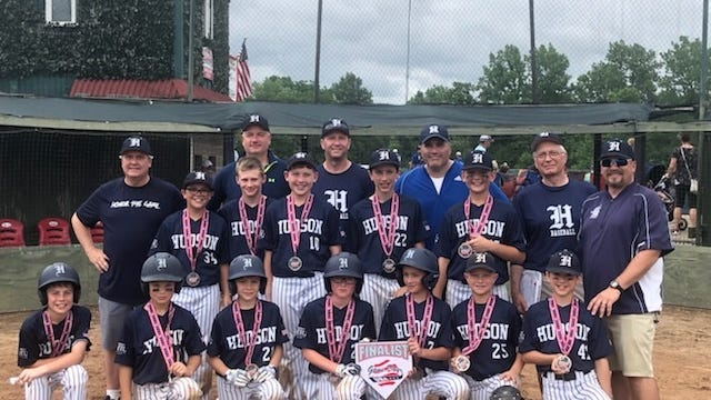 This photo of one of the Hudson Baseball Association teams was taken last year, at the 2019 Game Day Tournament in Mason, Ohio. Players and staff include, from left, front row Connor Eich, Luke Sutton, Will Hallis, Brady Studzinski, Ryan Jones, Alex Travis, and Blake Walker; middle row: Frankie Palumbo, Holden Reed, Nate Henderson, Bobby Zedak, Blake Bakonyi; and back row, coaches: Chas Hallis, Mike Bakonyi, Justin Reed, Matt Palumbo, Terry Studzinski and Josh Studzinski,the HBA president.