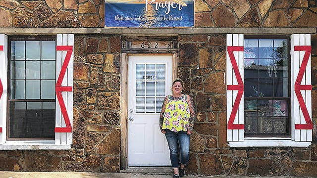 Malissa Smith is shown outside her new thrift store in Barnsdall, called Wing and a Prayer. The business is scheduled to hold its grand opening this Friday, June 26. Wing and a Prayer/Courtesy
