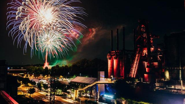 Fireworks are seen over Bethlehem, Pa., on the final night of Musikfest on Sunday.