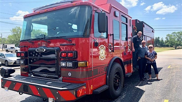 Ron Fuller of the Nimishillen Township Fire Department arranged for Pastors Dan and Marcia Deem of Louisville First Assembly of God to ride in a brand new Peirce Fire Engine as an expression of his appreciation for their love and support and to celebrate their retirement.