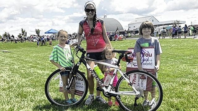 "Christy Bertolo is pictured with her children, Addie (left), Audrie and Augie. ""I was so bummed out the race was canceled,"" Bertolo said. ""It was falling on my 40th birthday and (Aug. 8 is) also my daughter Audrie's sixth birthday."""