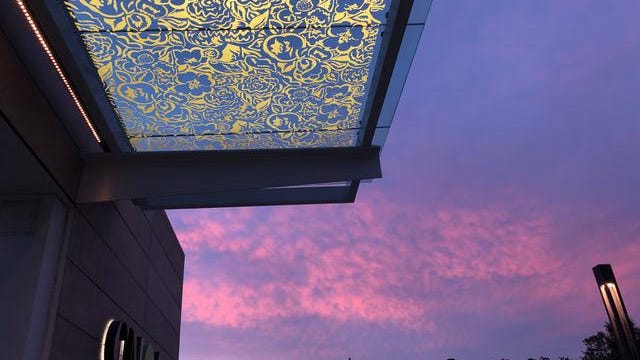 Melissa Vogley Woods' canopy at the Columbus Museum of Art is aglow during a photograph at dusk