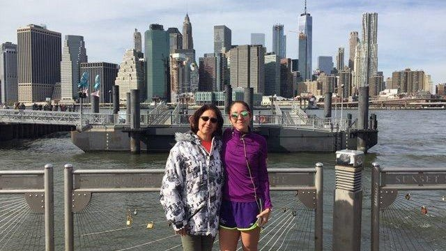 Isabelle Odette Papadimitriou, left, is pictured in 2017 with her daughter, Fiana Paulette Garza Tulip, in New York. Papadimitriou was a respiratory therapist who died July 4, 2020 in Dallas from the coronavirus.